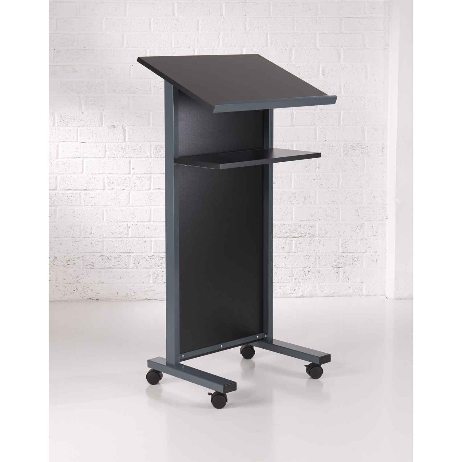 Coloured Panel Front Lectern - Black