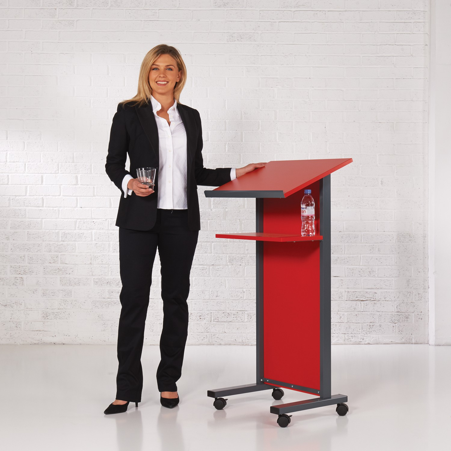 Coloured Panel Front Lectern - Red