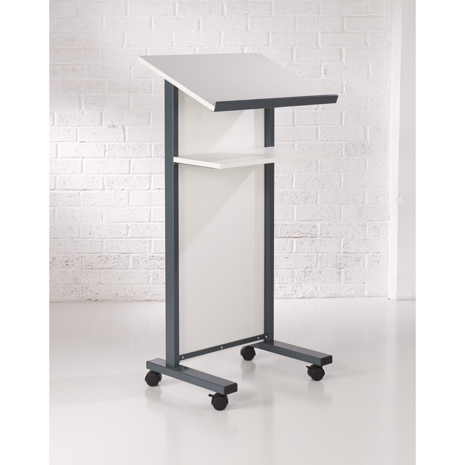 Coloured Panel Front Lectern - White