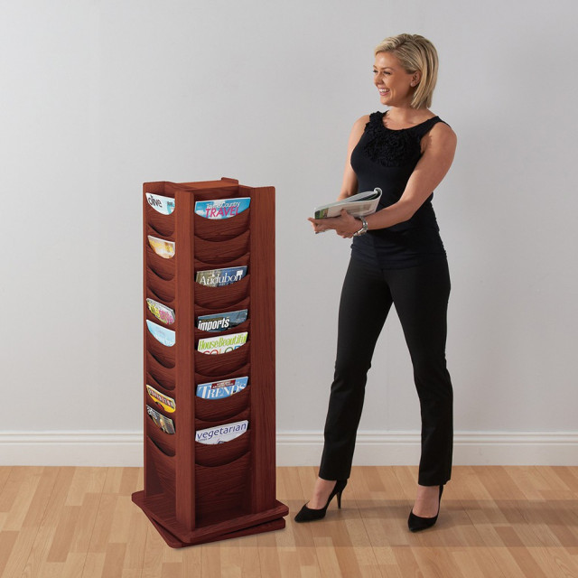 Mahogany revolving literature dispenser - 1257 (H) x 451 (W) 451mm (D)