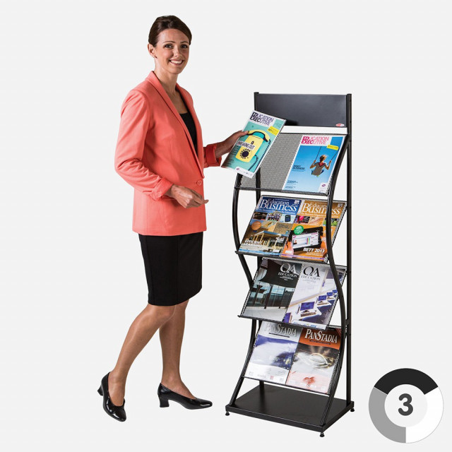 Wave Wider Freestanding Leaflet Dispenser