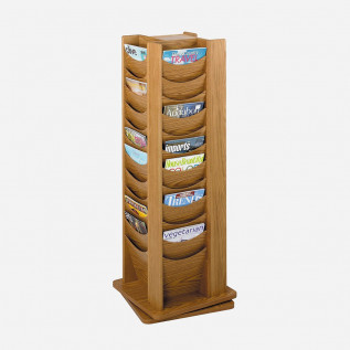Oak revolving literature dispensers