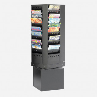 Steel revolving literature dispenser