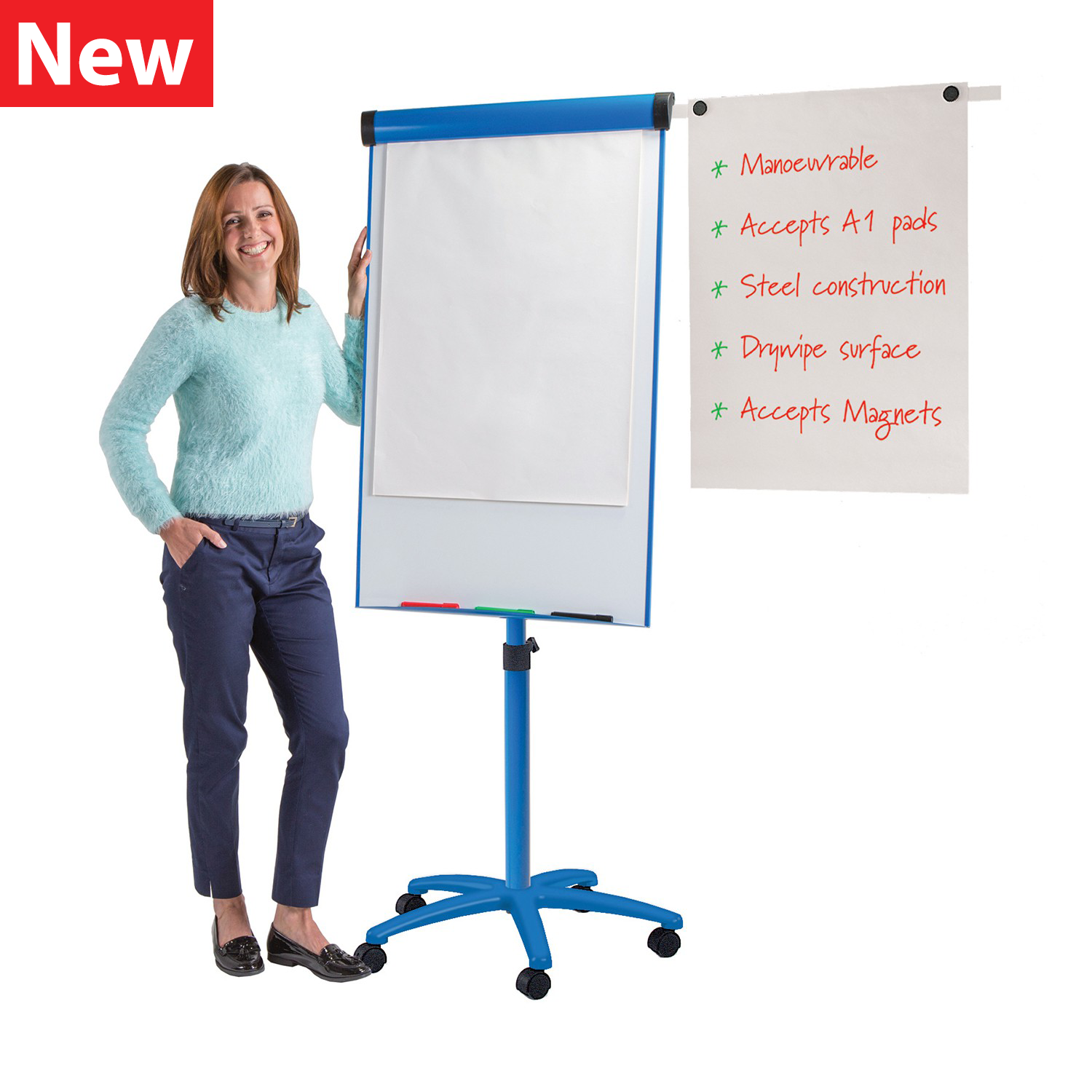 Buzzard Mobile Flipchart Easel - Blue